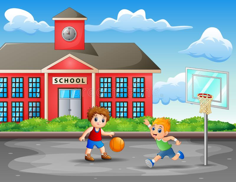 Due ragazzi che giocano pallacanestro alla corte illustrazione vettoriale