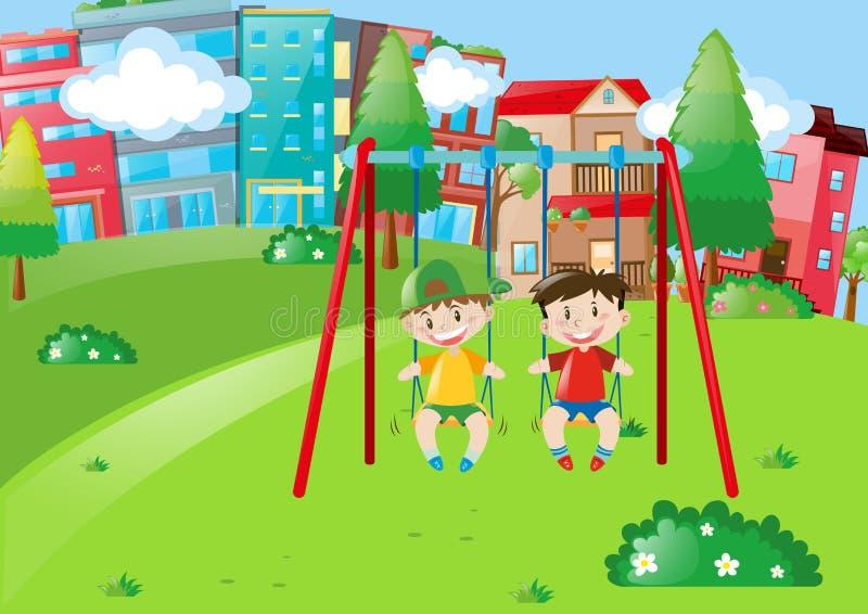 Due ragazzi che giocano sulle oscillazioni nel parco illustrazione vettoriale