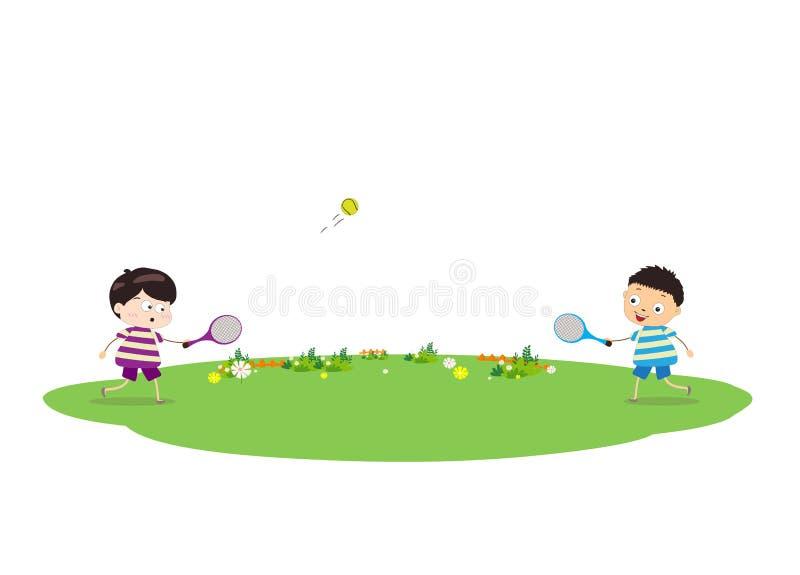 Due ragazzi che giocano tennis illustrazione di stock