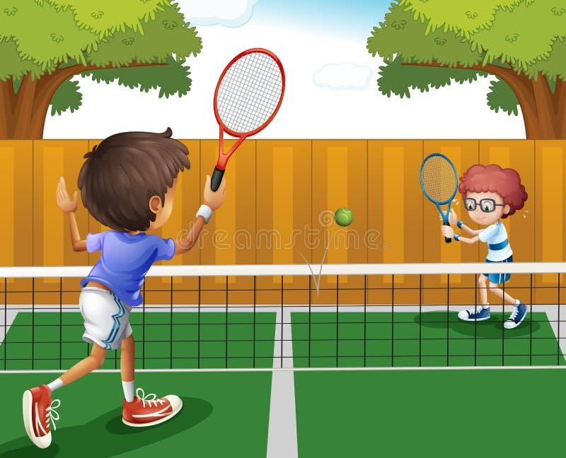 Due ragazzi che giocano a tennis dentro il recinto illustrazione vettoriale