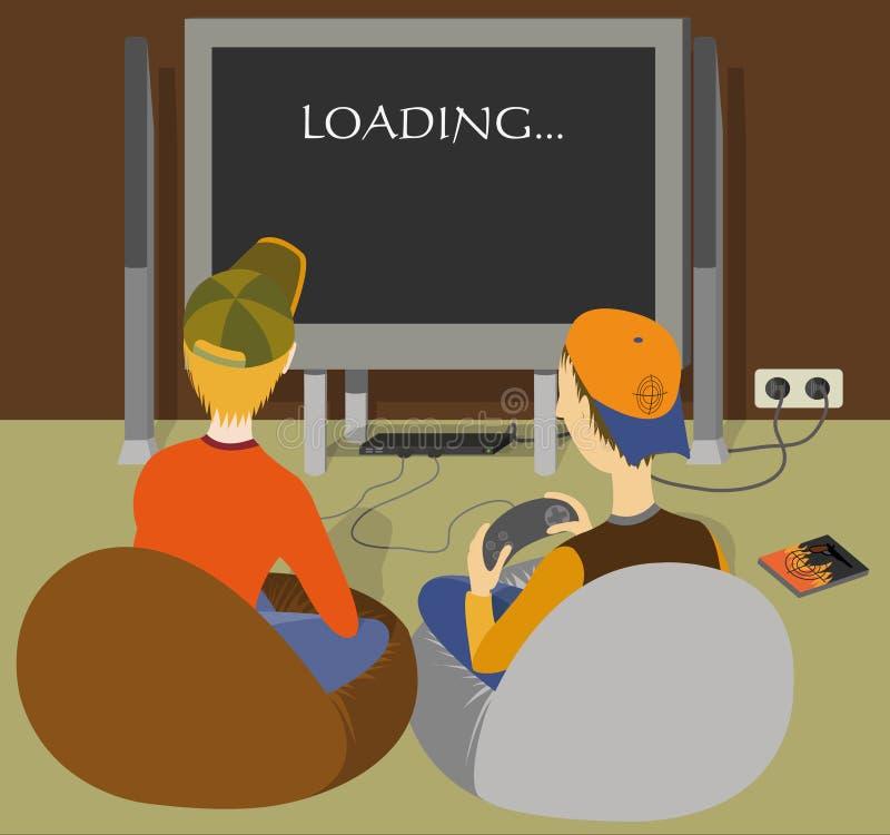 Due ragazzi che giocano una sezione comandi del gioco royalty illustrazione gratis
