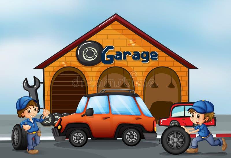 Due ragazzi che lavorano al garage royalty illustrazione gratis
