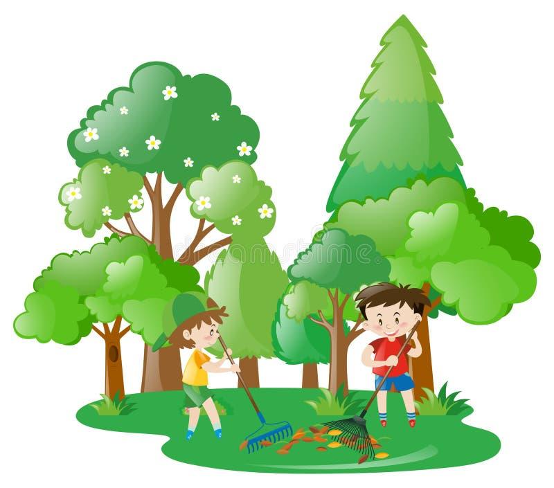 Due ragazzi che rastrellano le foglie in foresta illustrazione vettoriale