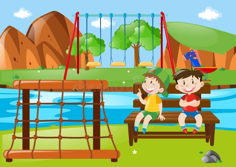Due ragazzi che si siedono nel parco illustrazione vettoriale