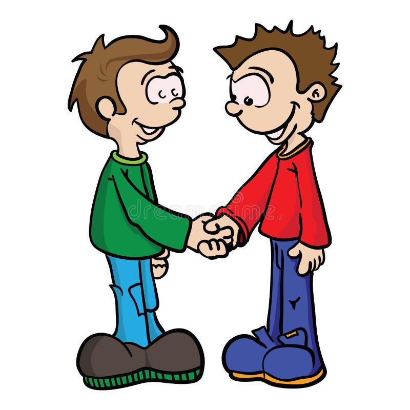Due ragazzi che stringono le mani ENV illustrazione di stock