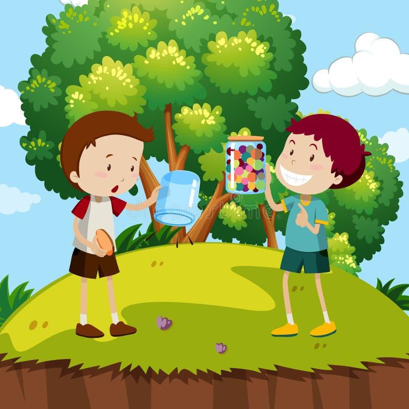 Due ragazzi con i marmi variopinti nel parco royalty illustrazione gratis