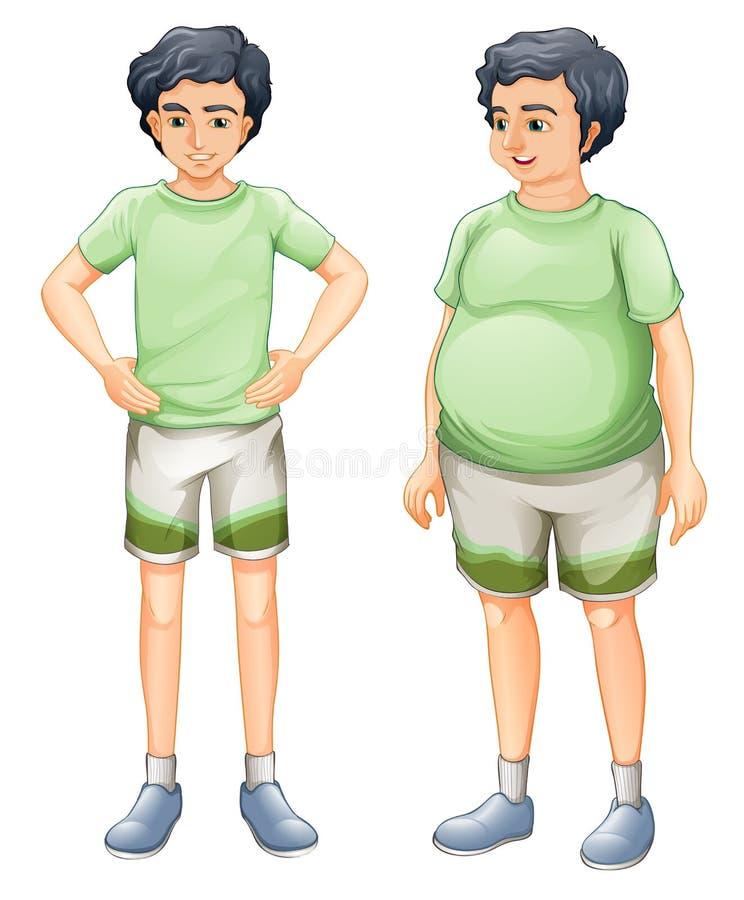 Due ragazzi con la stessa camicia ma delle dimensioni corporee differenti illustrazione di stock