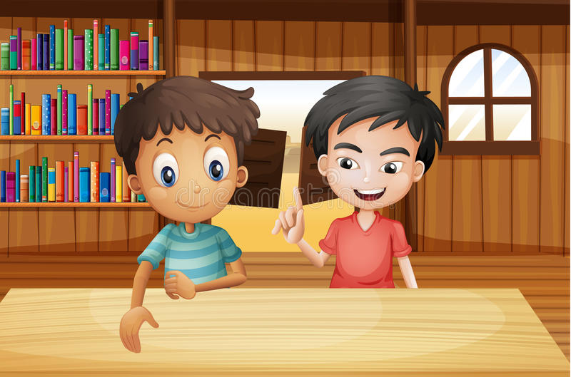 Due ragazzi dentro la barra di salone con i libri illustrazione vettoriale