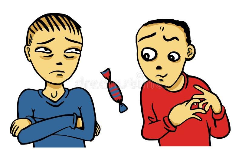 Due ragazzi e dolci illustrazione vettoriale