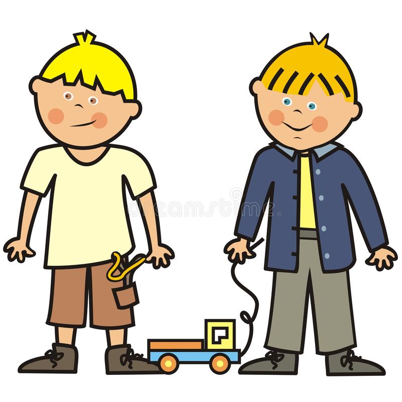 Due ragazzi e giocattoli, automobile e fionda, illustrazione di vettore illustrazione vettoriale