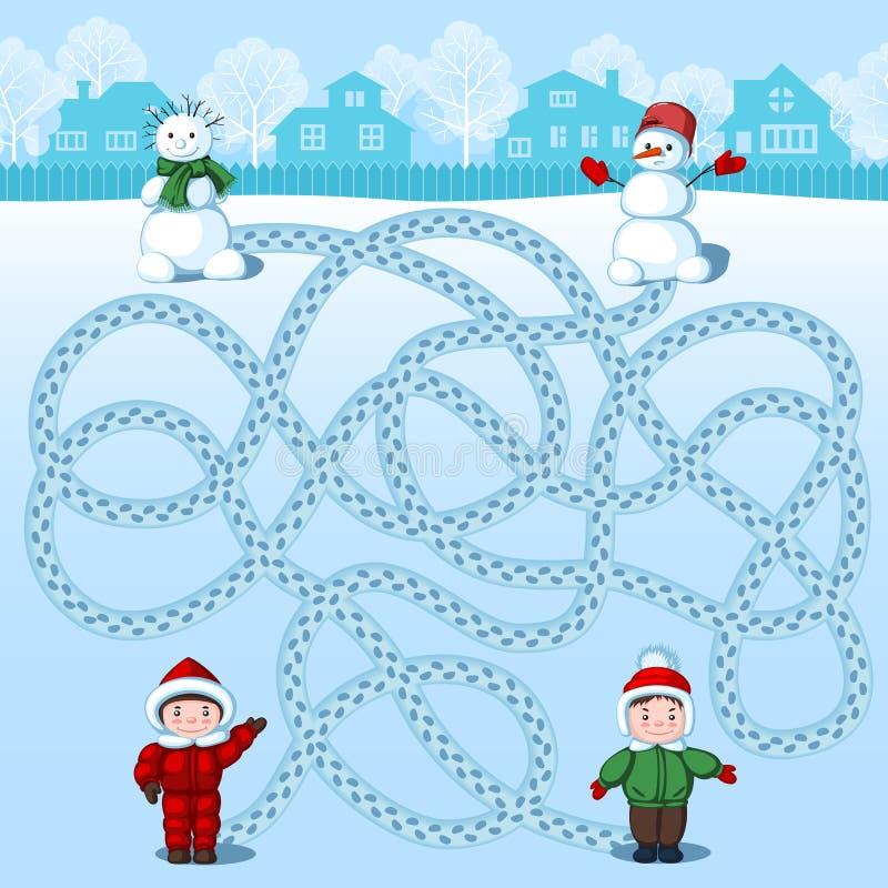 Due ragazzi fanno due pupazzi di neve Ritrovamento di cui è dove? Immagine del ` s dei bambini con un enigma royalty illustrazione gratis