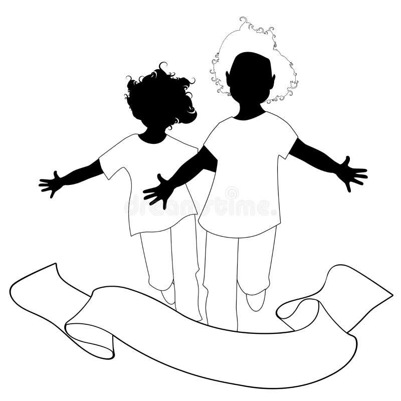 Due ragazzi gemellati felici che corrono con a braccia aperte e testo dell'insegna isolato su fondo bianco illustrazione vettoriale