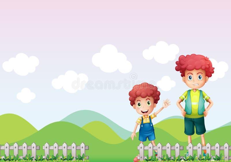 Due ragazzi nell'azienda agricola illustrazione vettoriale
