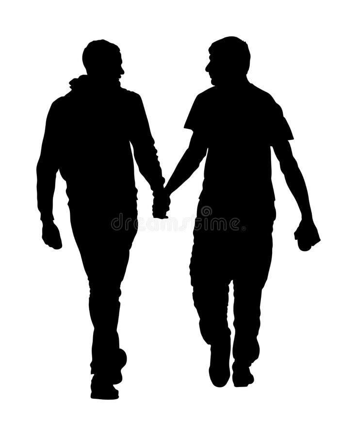 Due ragazzi omosessuali che camminano e passare tenuta dell'illustrazione della siluetta Tenerezza gay bella delle coppie in pubb royalty illustrazione gratis