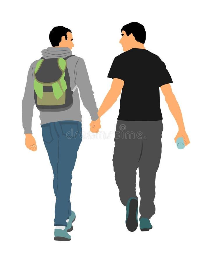 Due ragazzi omosessuali che camminano e passare tenuta dell'illustrazione Tenerezza gay bella delle coppie in pubblico illustrazione di stock