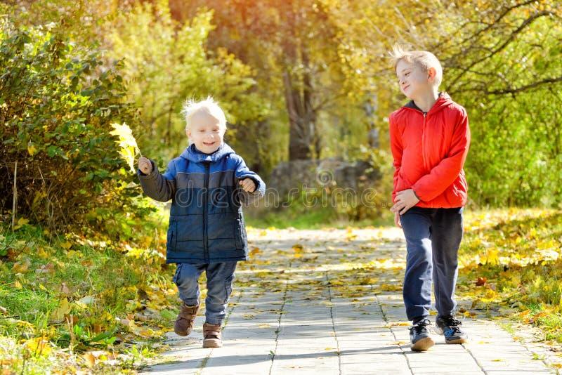Due ragazzi sorridenti passano il parco di autunno immagini stock libere da diritti