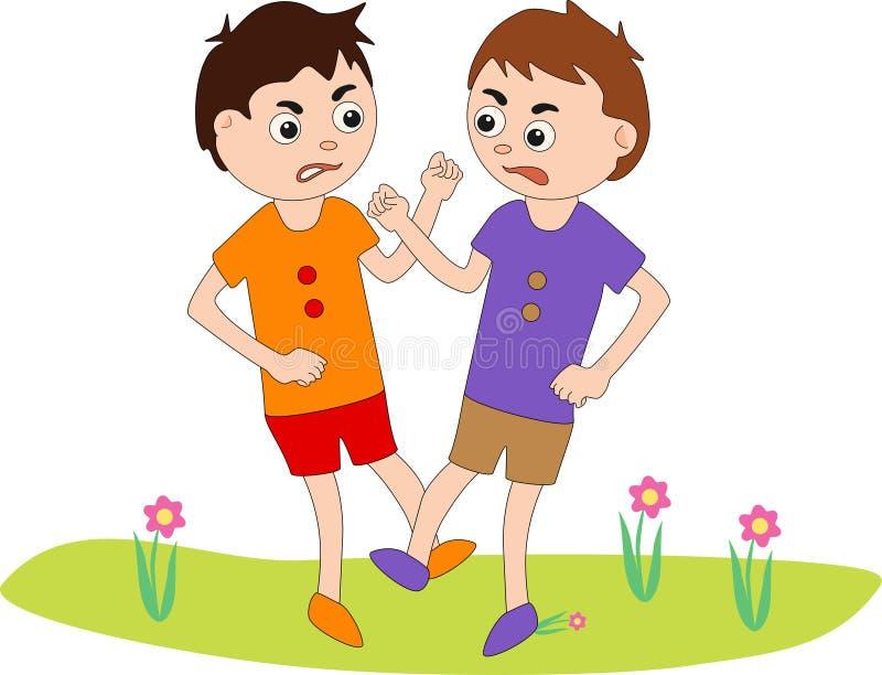 Due ragazzi stanno combattendo illustrazione di stock