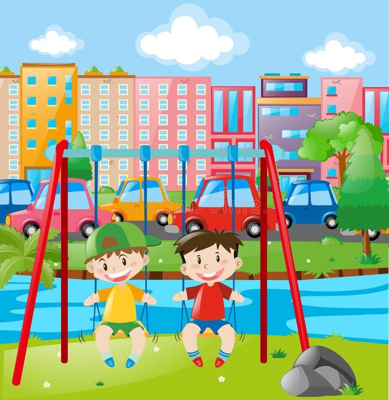 Due ragazzi su oscillazione nella città royalty illustrazione gratis