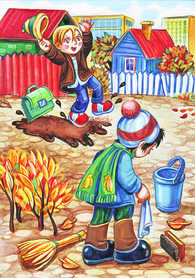 Due ragazzi su una via del villaggio royalty illustrazione gratis