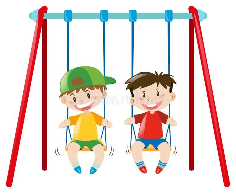 Due ragazzi sulle oscillazioni royalty illustrazione gratis