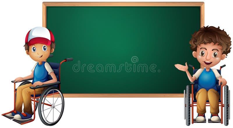 Due ragazzi sulle sedie a rotelle dal bordo illustrazione di stock