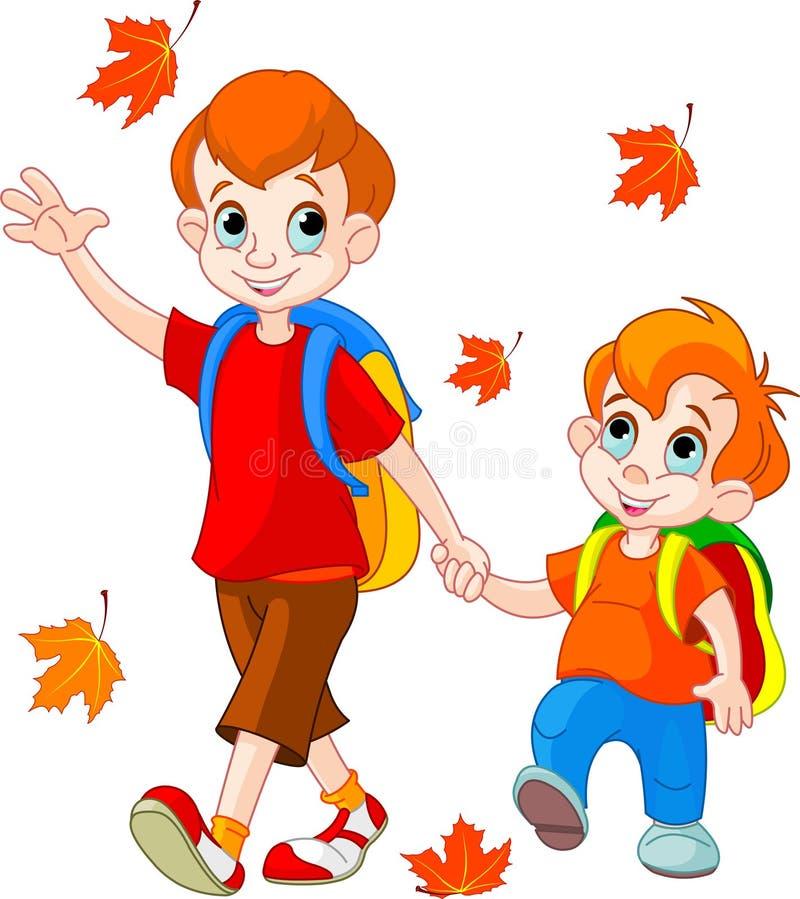 Due ragazzi vanno al banco royalty illustrazione gratis