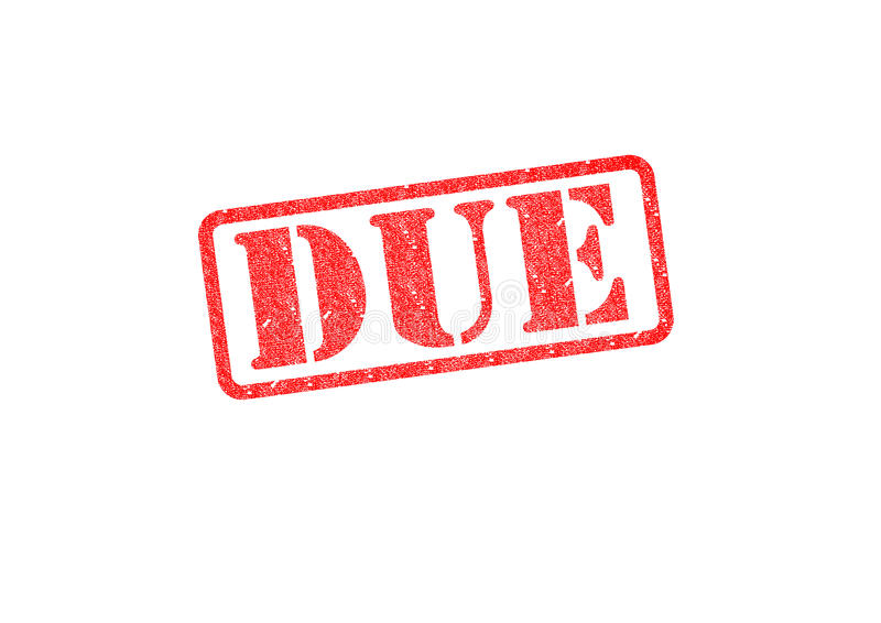 DUE. `DUE` red rubber stamp over a white background royalty free illustration