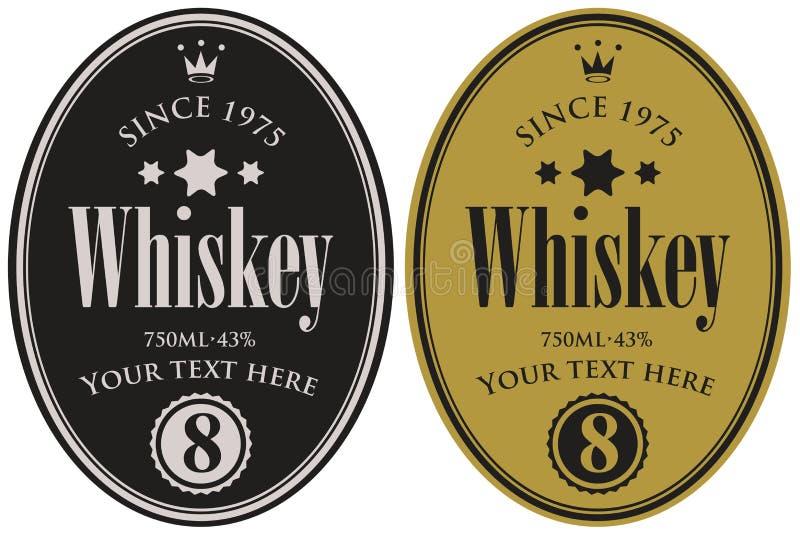 Due retro etichette per whiskey nel telaio ovale illustrazione vettoriale