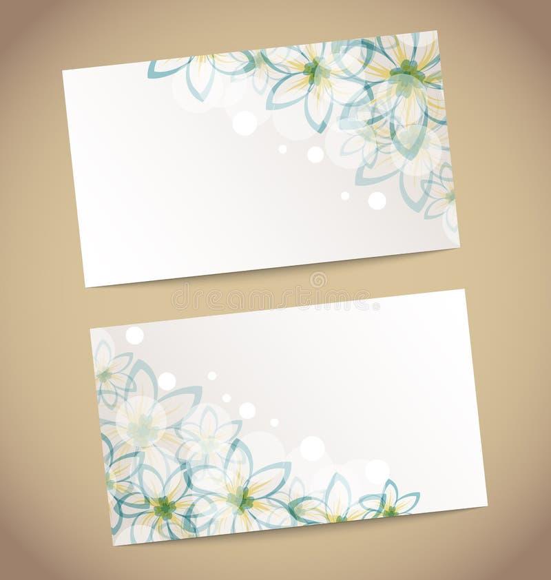 Due retro partecipazioni di nozze con il fiore illustrazione di stock