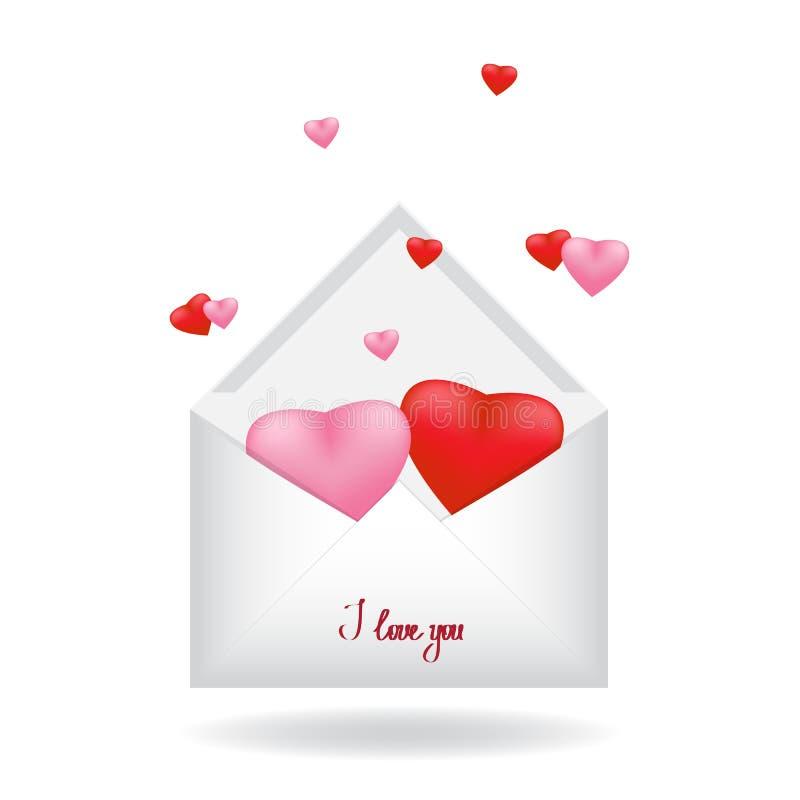 Due rossi e cuore rosa dentro una busta bianca semplice della posta fotografia stock