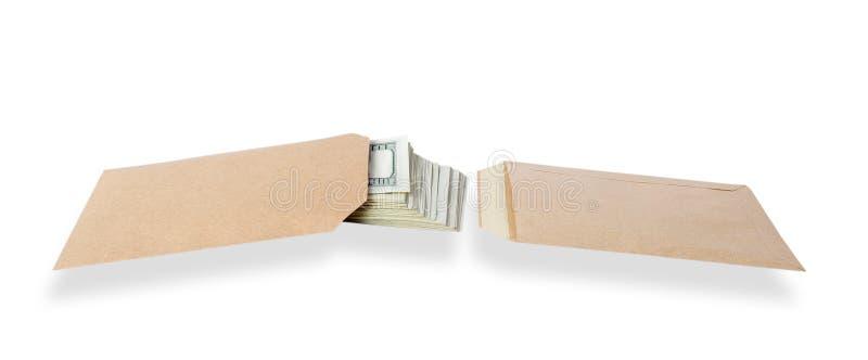Due sacchetti e soldi. fotografie stock libere da diritti