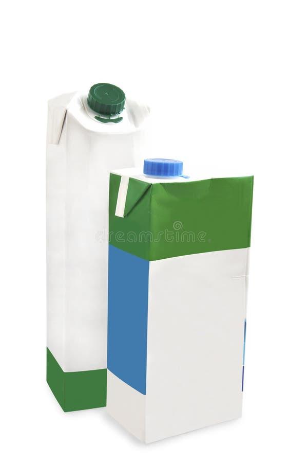 Due scatole del latte. fotografia stock libera da diritti