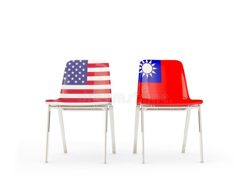 Due sedie con le bandiere degli Stati Uniti e di Taiwan isolati su bianco illustrazione di stock