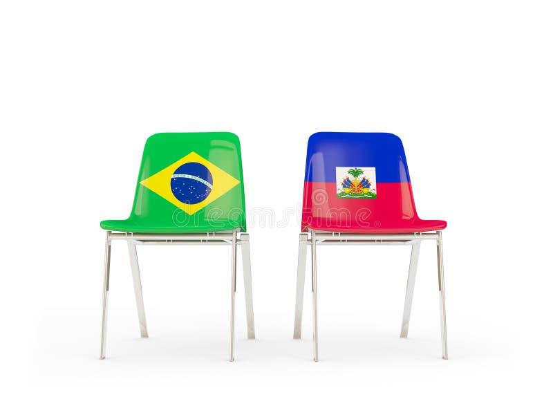 Due sedie con le bandiere del Brasile e dell'Haiti illustrazione vettoriale