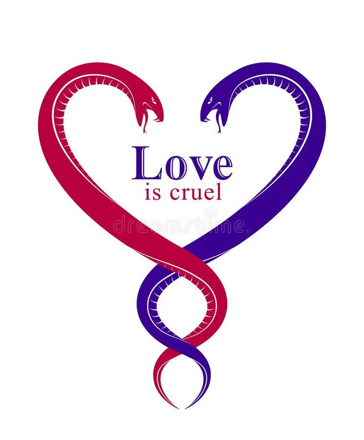 Due serpenti in una forma di cuore, amore è concetto crudele, coppie degli amanti discutenti, litigi nelle relazioni, emblema di  illustrazione di stock