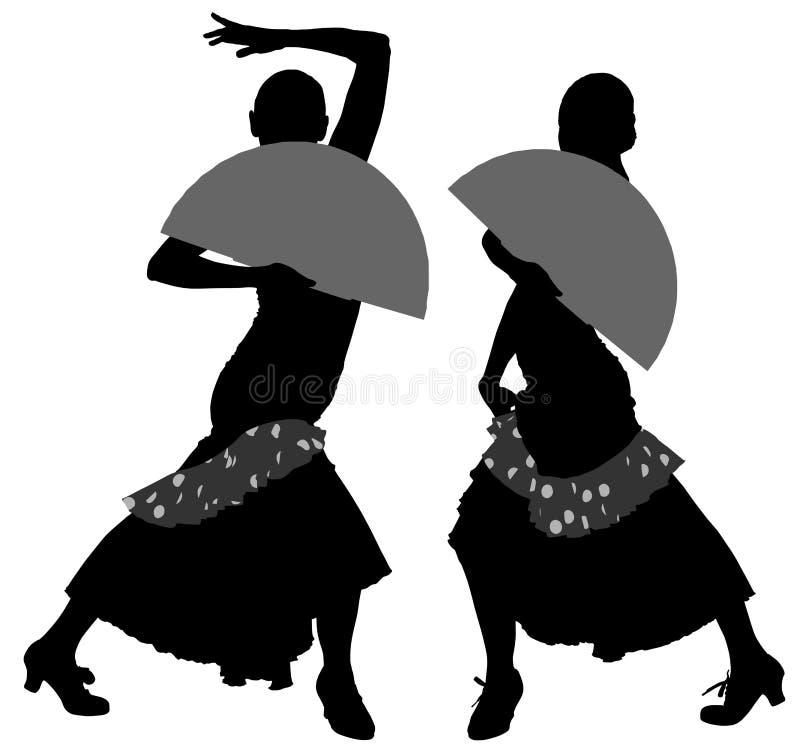 Due siluette del ballerino femminile di flamenco royalty illustrazione gratis