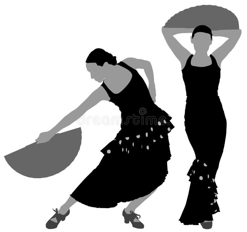 Due siluette del ballerino femminile di flamenco illustrazione vettoriale