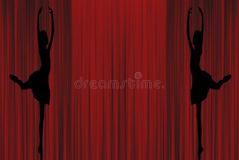 Due siluette della ballerina di giovane dancing del ` s di signora di balletto sul pointe nel derriere di atteggiamento su un fon illustrazione di stock