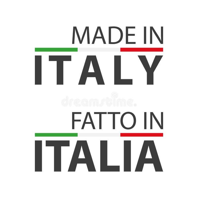 Due simboli semplici di vettore fatti in Italia illustrazione vettoriale