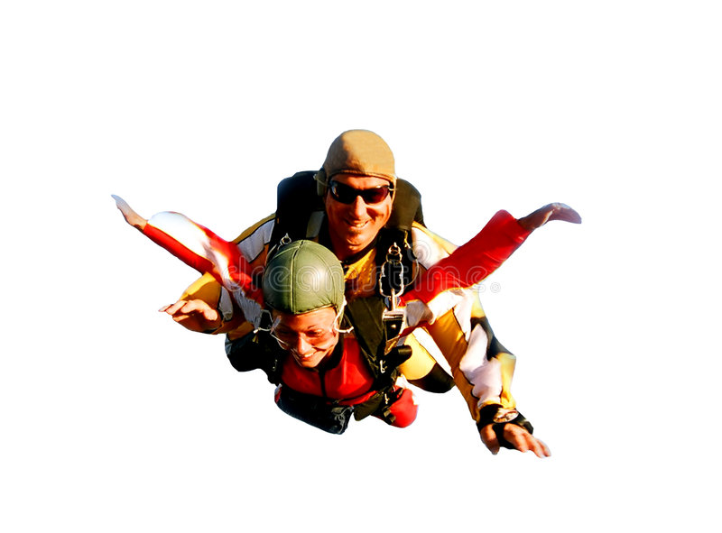 Due skydivers in tandem nell'azione immagine stock libera da diritti