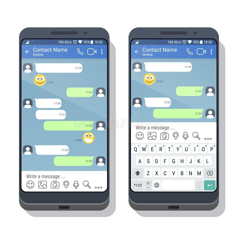 Due smartphones con il modello di applicazione del messaggero o della rete sociale con e senza la tastiera virtuale illustrazione vettoriale