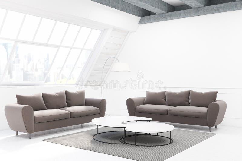Due sofà grigi e una tavola, vista laterale illustrazione di stock