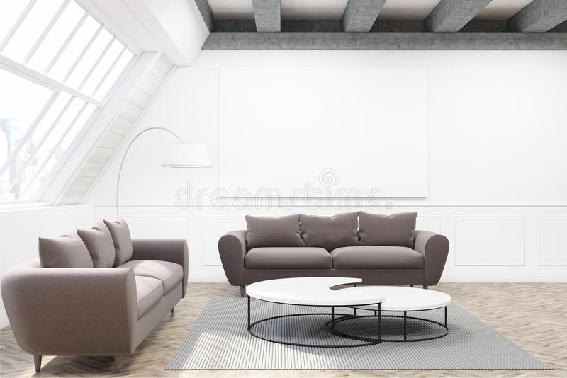 Due sofà grigi, un manifesto e una tavola illustrazione di stock