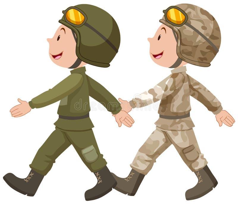 Due soldati nella marcia uniforme illustrazione vettoriale