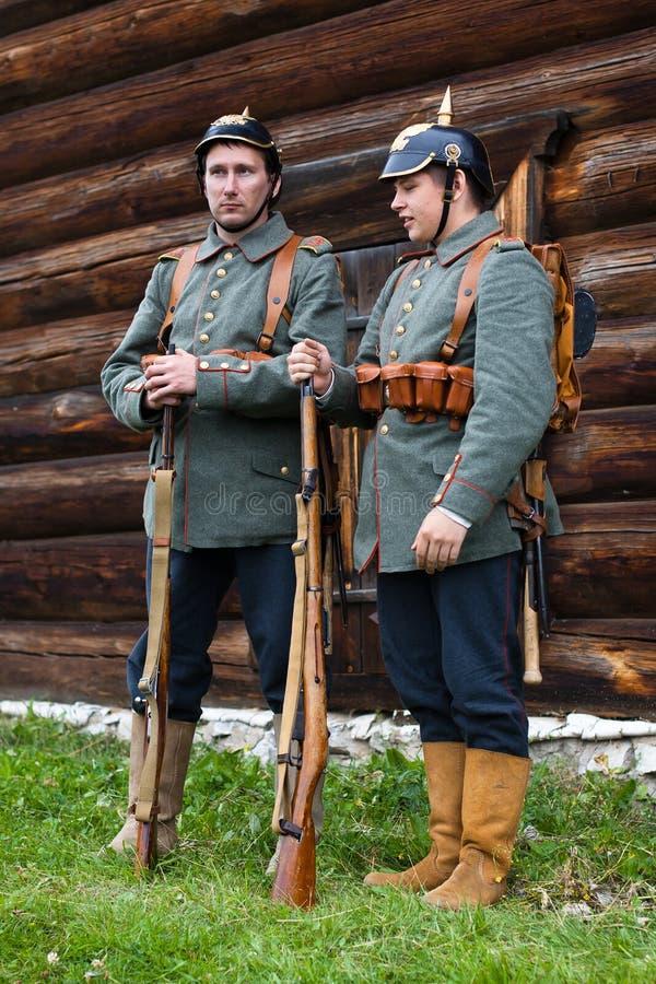 Due soldati tedeschi della prima guerra mondiale fotografia stock