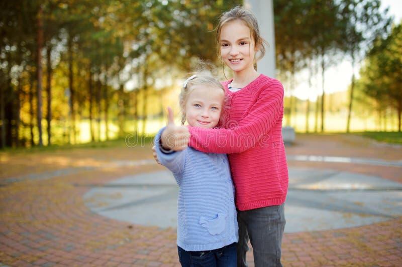 Due sorelle sveglie divertendosi al centro geografico di Europa, situato in Lituania, vicino al villaggio di Girija fotografia stock