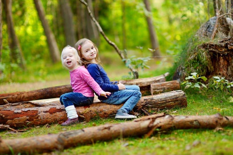 Due sorelline che si siedono su una connessione una foresta fotografia stock libera da diritti