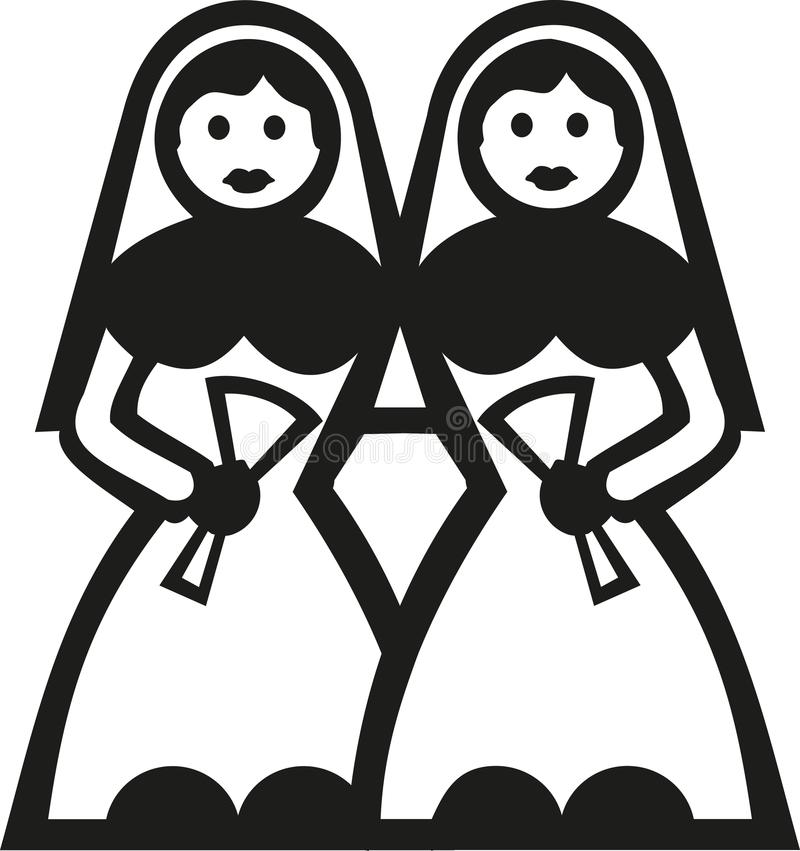 Due spose in abito nuziale illustrazione vettoriale
