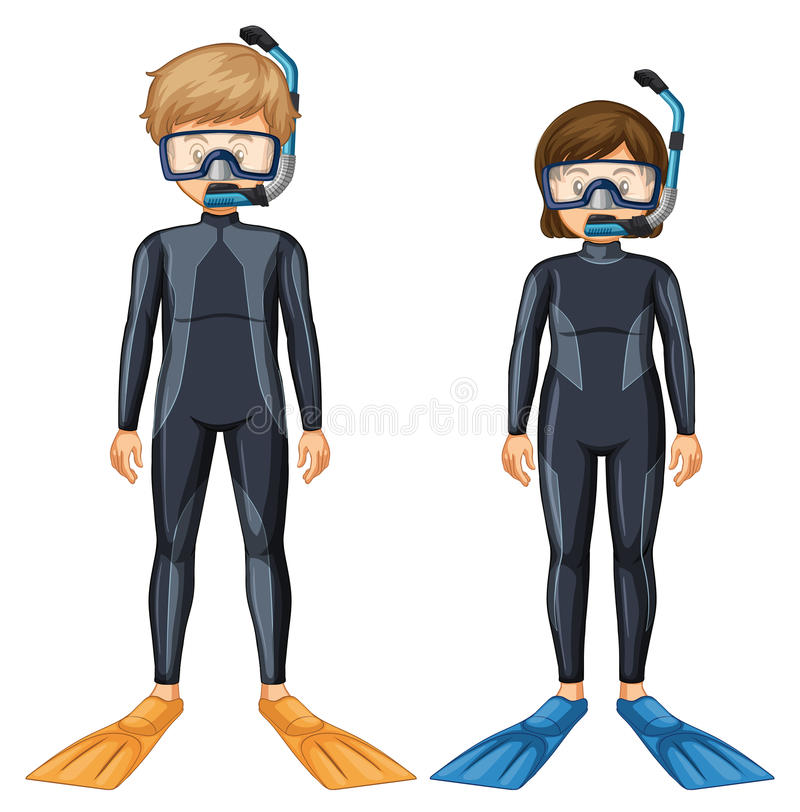 Due subaquei con la maschera e l'aletta illustrazione di stock