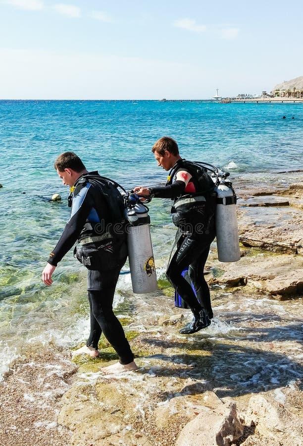Due subaquei in vestiti per immersione con bombole vanno all'acqua vicino alla città di Eilat in Israele fotografia stock libera da diritti